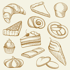 Drawing Contour of Bakery and Sweets
