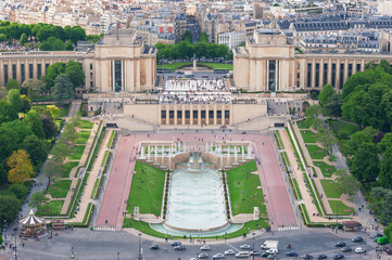 Trocadero aerial view from the Eiffel Tower, Paris.