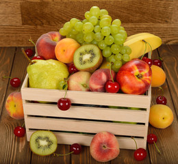 Various fruit in a wooden box