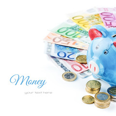 Piggy bank and various money