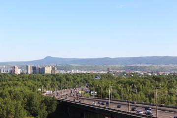 Остров Татышева, октябрьский мост. Красноярск