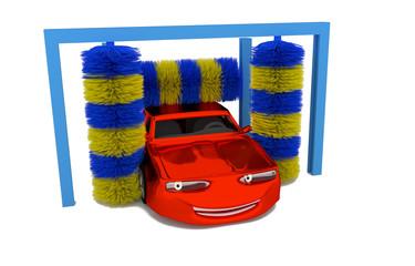 car inside a car wash