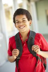 Pre teen boy at school