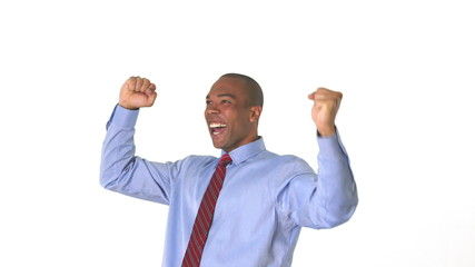 Young businessman celebrating