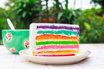 Rainbow cake and  coffee