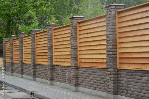 Leinwandbild Motiv Wooden decorative fence