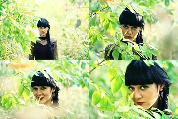 Set of four photo of cute black haired women in green leaves