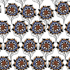 Vector seamless pattern of asian style flowers