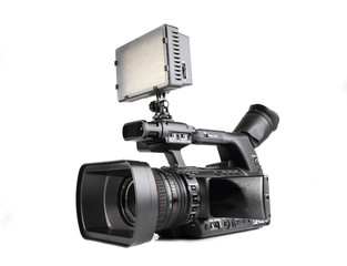 Camcorder with led video light