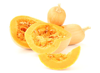 Ripe cut pumpkins isolated on white