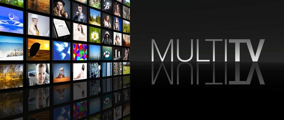 Multi television screens black background