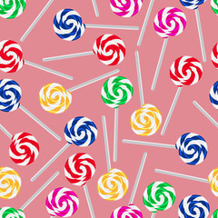 colorful sweet lollipops seamless pattern eps10