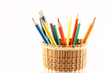 Pencils and pencil-holders close-up