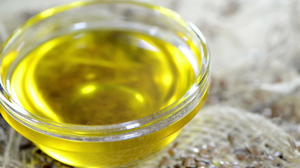 Flaxseed Oil in a small bowl as not loopable full HD video