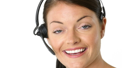 Closeup portrait of positive female telemarketer