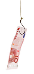 fishing with 10 euro banknote lure on fishhook