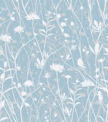 Wild flowers pattern in blue tones.