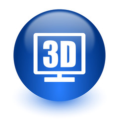 3d display computer icon on white background