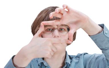 look through fingers framing - hand gesture