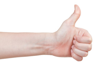 side view of thumb up - hand gesture