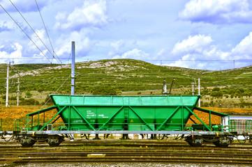 Vagón, tren, ferrocarril, mercancías, transporte, Puertollano