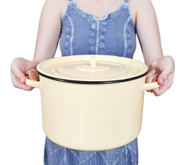 woman with large closed saucepan isolated