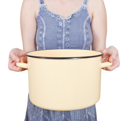 woman with large open saucepan isolated