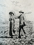 The Walk to Work (etching by Jean-François Millet) poster