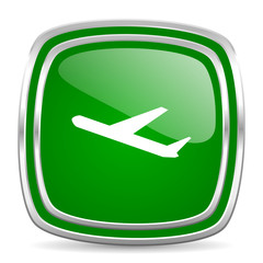 deparures glossy computer icon on white background