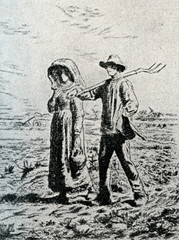 The Walk to Work (etching by Jean-François Millet)