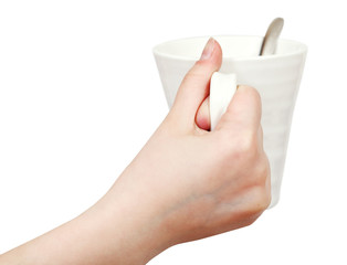 white mug in hand isolated