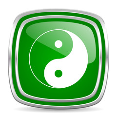 ying yang glossy computer icon on white background