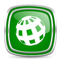earth glossy computer icon on white background