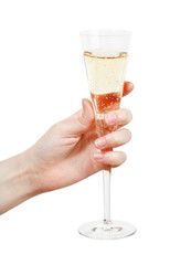 hand holds glass with champagne isolated