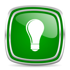 bulb glossy computer icon on white background