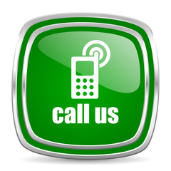 call us glossy computer icon on white background
