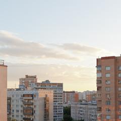 pink sunset over residential quarter