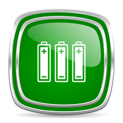 battery glossy computer icon on white background