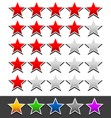 Star rating template with 6 color stars