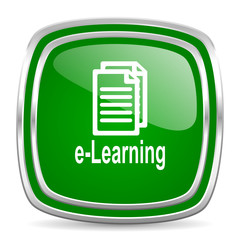 learning glossy computer icon on white background