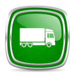 delivery glossy computer icon on white background