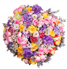 top view of big bunch of flowers isolated