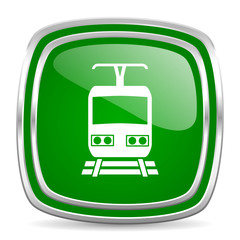 train glossy computer icon on white background