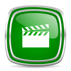 video glossy computer icon on white background