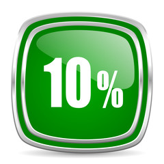 10 percent glossy computer icon on white background