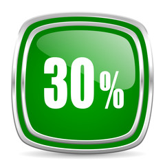 30 percent glossy computer icon on white background