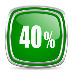 40 percent glossy computer icon on white background