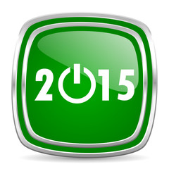 new year 2015 glossy computer icon on white background