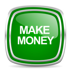 make money glossy computer icon on white background