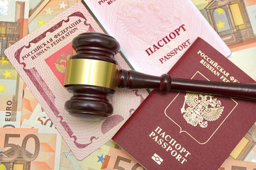gavel, passport on background euro